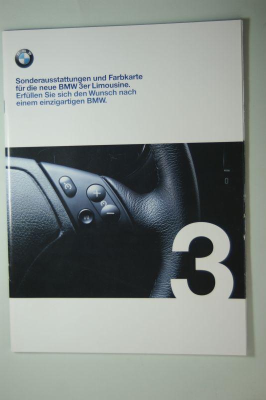 BMW: Sonderausstattungen und Farbkarte für die neue BMW 3er Limousine. 1/98
