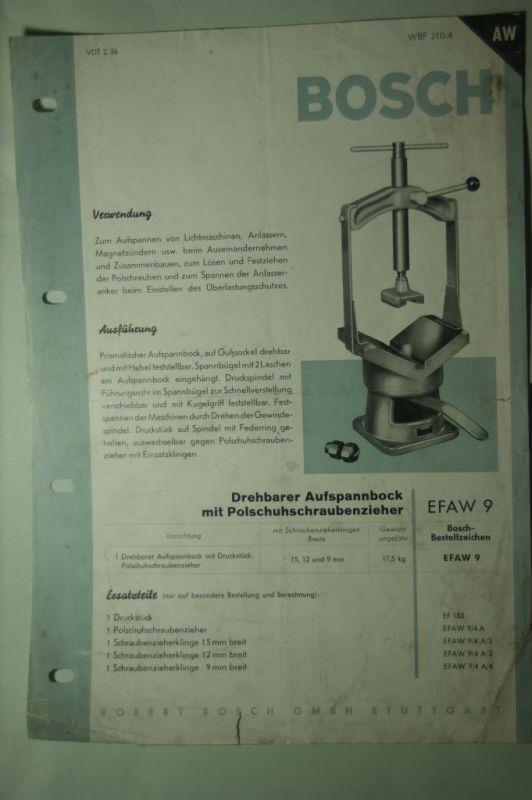 Bosch, Robert GmbH: Infoblatt Bosch Drehbarer Aufspannbock mit Polschuhschraubenzieher 1956