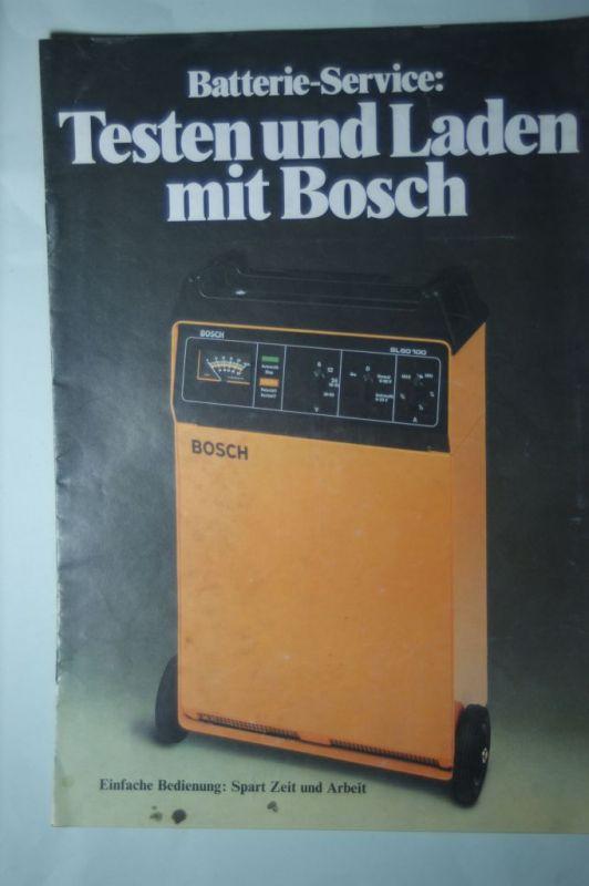 Bosch, Robert GmbH: Prospekt Testen und Laden mit Bosch 1982