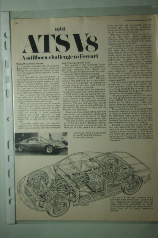 Classic Cars: Artikel aus Classic Cars 04/1977 ATS V8 1963