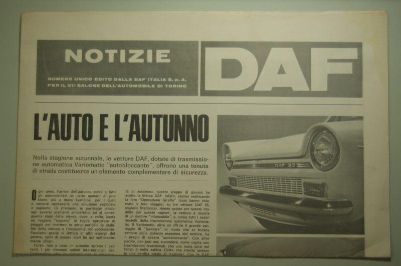 DAF: Zeitungsblatt Notizie DAF L´Auto E L´Autunno 1968
