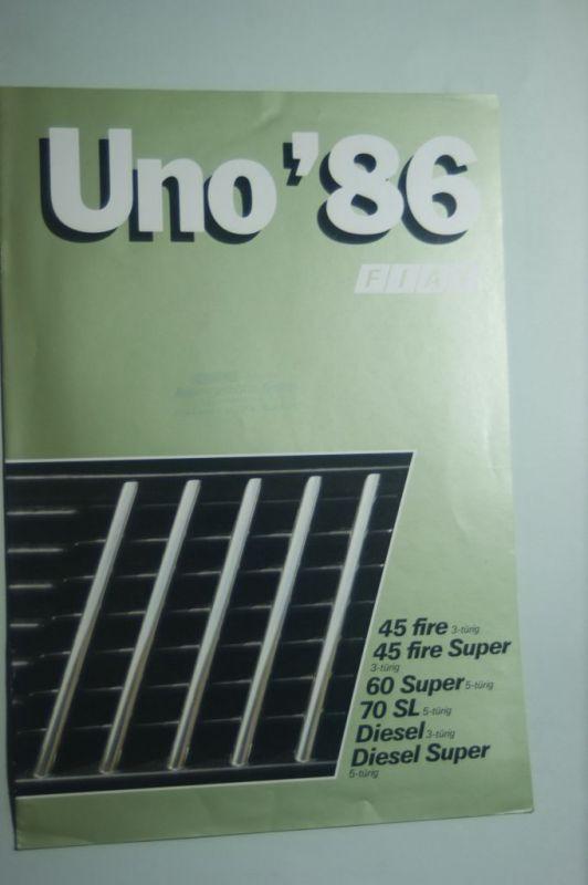 Fiat: 8 Seiten-Prospekt Fiat Uno 03/1986