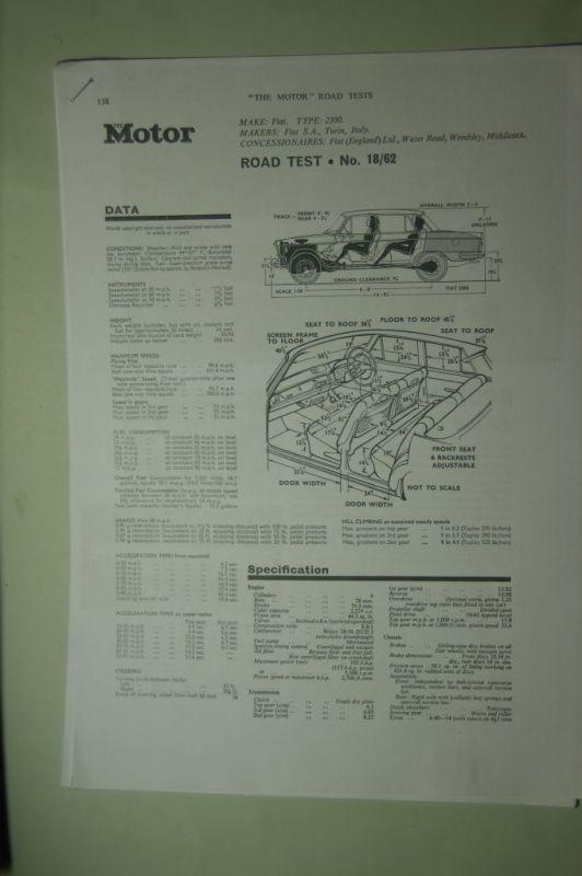 Fiat: Fotokopie Road Test Fiat 2300 aus den 1960igern