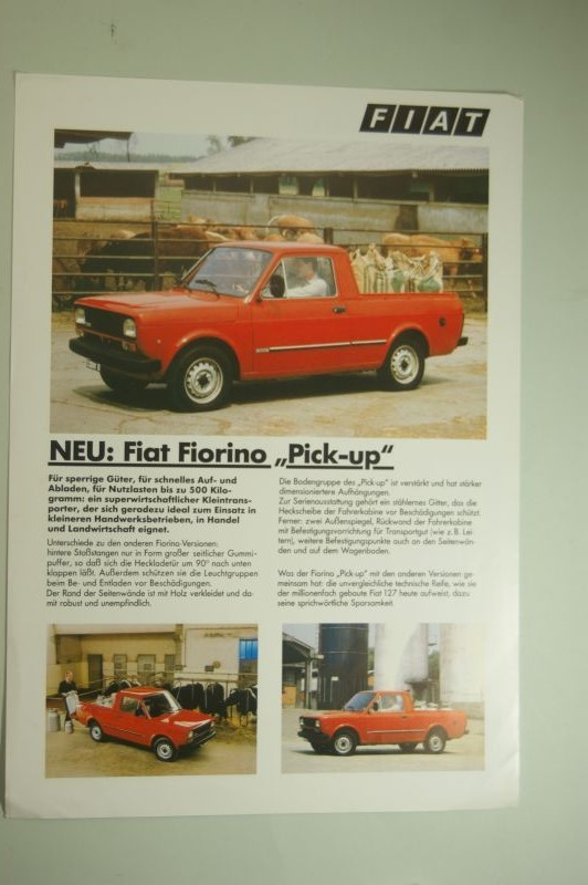 Fiat: Infoblatt Fiat Fiorino Pick-up aus den 1980igern