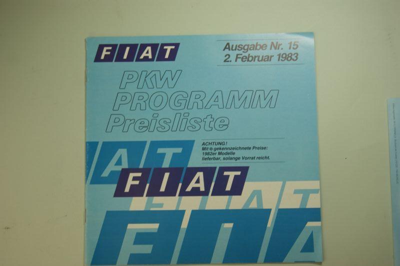 Fiat: Prospekt Fiat PKW Programm Preisliste 1983