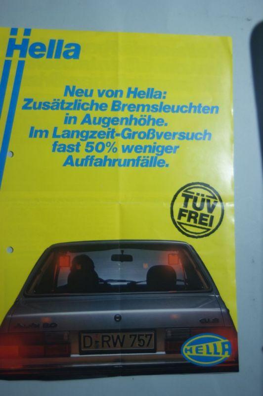 Hella: Faltblatt HELLA Zusätzliche Bremsleuchte 1980
