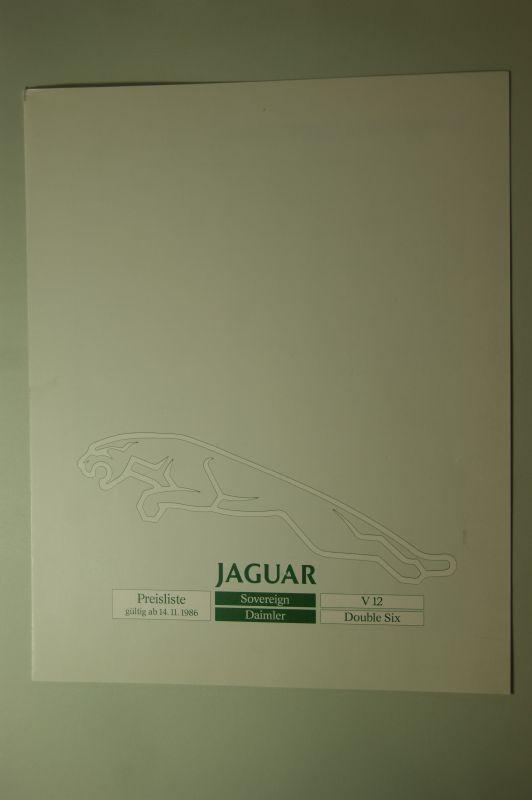 Jaguar: Jaguar Preisliste 14.11.1986 Souvereign Daimler