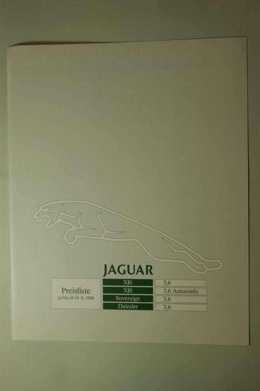 Jaguar: Jaguar Preisliste 14.11.1986 XJ6 Sovereign Daimler 3,6