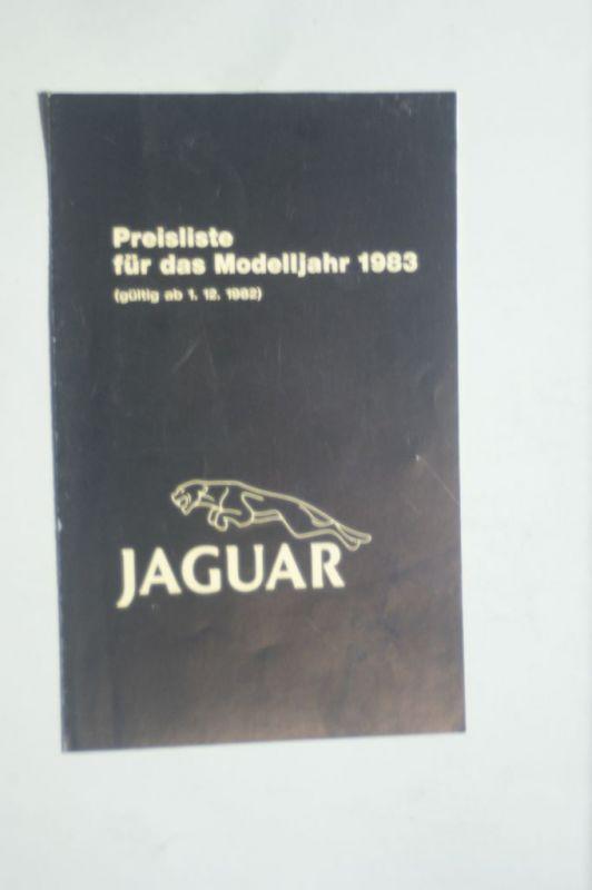 Jaguar: Jaguar Preisliste für das Modelljahr 1983