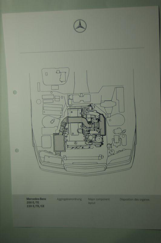 Mercedes-Benz: Mercedes-Benz Schnittbild Aggregatanordnung 200E/TE 220E/TE/CE aus den 1980igern
