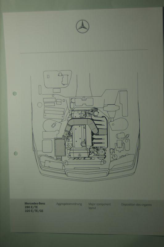 Mercedes-Benz: Mercedes-Benz Schnittbild Aggregatanordnung 280E/TE 320E/TE/CE aus den 1980igern