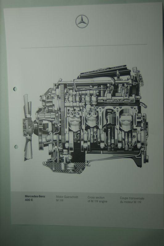 Mercedes-Benz: Mercedes-Benz Schnittbild Längsschnitt Motor 400 E aus den 1980igern