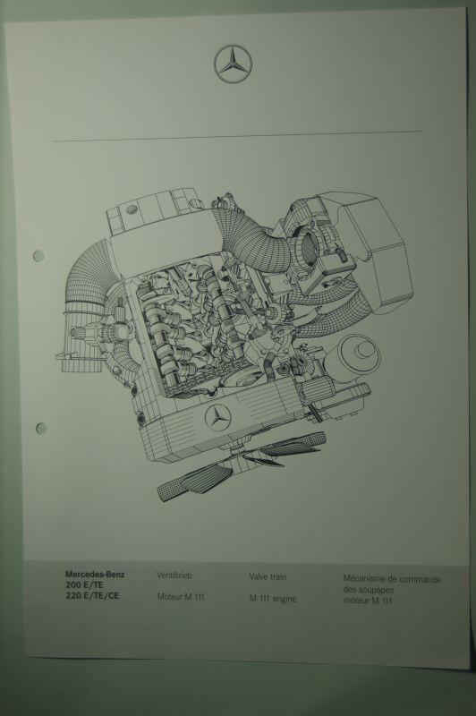 Mercedes-Benz: Mercedes-Benz Schnittbild Ventiltrieb M 111 aus den 1980igern