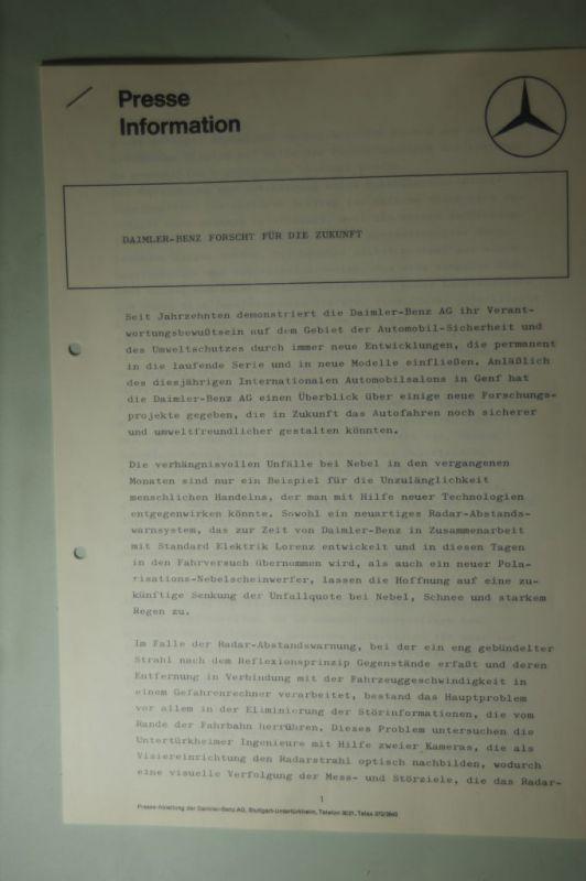 Mercedes-Benz: Presse Information Mercedes Benz Daimler-Benz forscht für die Zukunft 1975