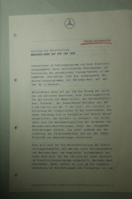 Mercedes-Benz: Presse-Information Mercedes-Benz Leistung und Verantwortung Mercedes-Benz auf der IAA 1992