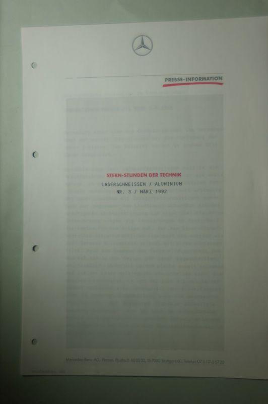 Mercedes-Benz: Presse-Information Mercedes-Benz Stern-Stunden der Technik Laserschweissen/Aluminium 1991