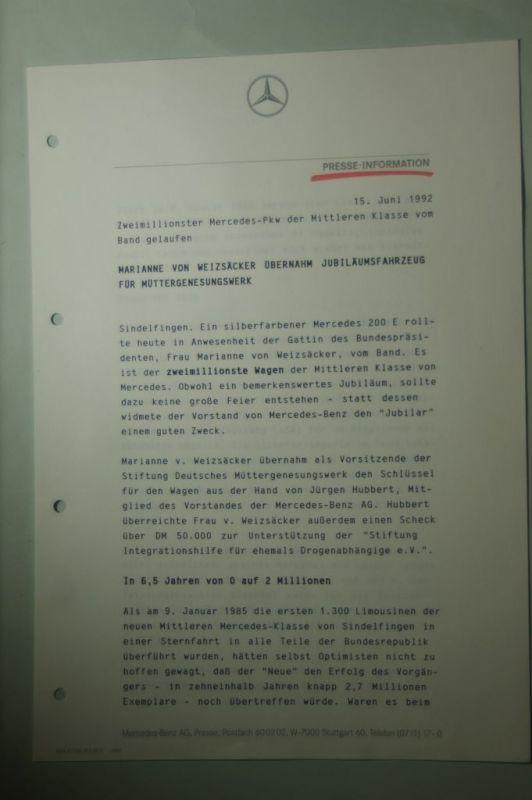 Mercedes-Benz: Presse-Information Mercedes-Benz Zweimillionster Mercedes-PKW der Mittleren Klasse 1992