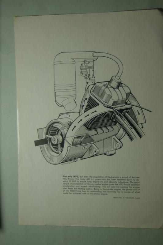NSU: Schnittzeichnung Kühlung Motor NSU Prinz (Prince) aus den 1960igern