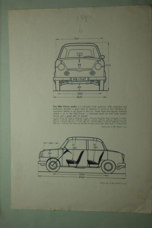 NSU: Schnittzeichnung mit Maßen NSU Prinz (Prince) aus den 1960igern