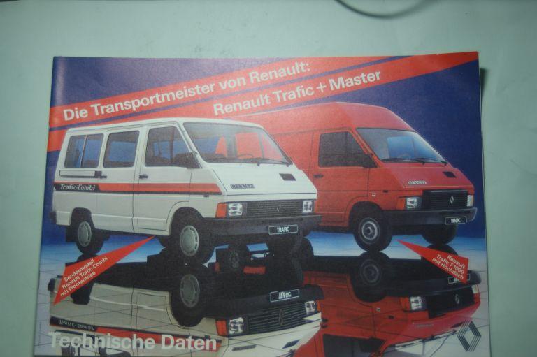 Renault: Prospekt Renault Traffic Master Technische Daten aus den 1980igern