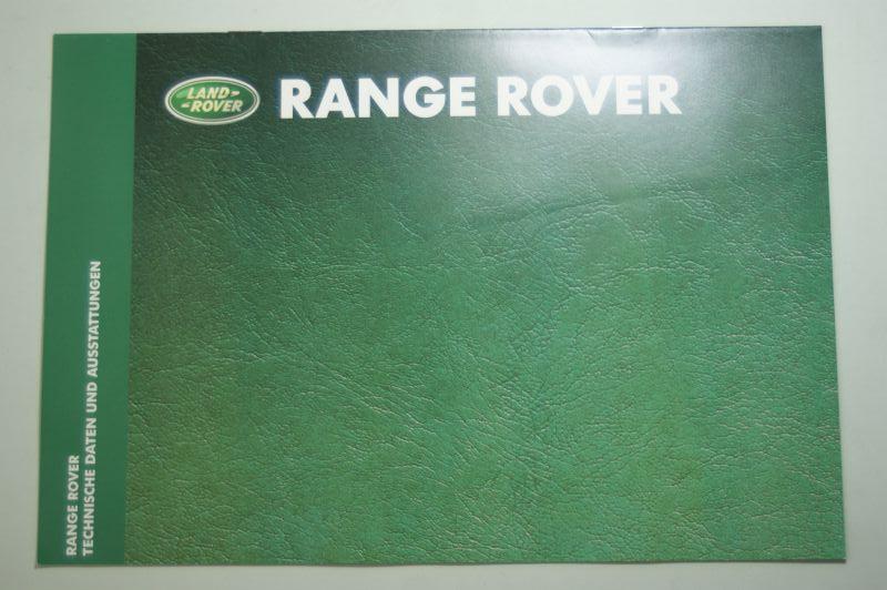 Rover: Prospekt Rover Range Rover Technische Daten und Ausstattung 1999