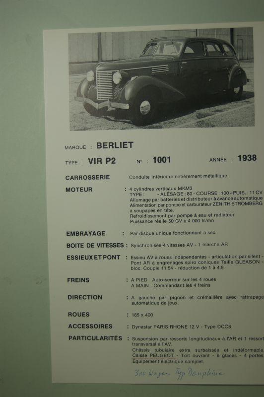 Typenblatt: Reprint Typenblatt Berliet VIR P2 1001 1938