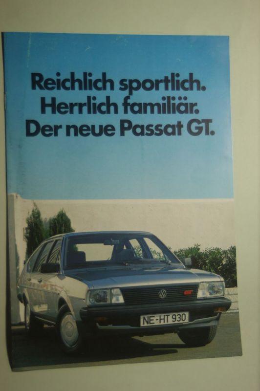VW: 8 Seiten Prospekt VW PAssat GT aus den 1980igern