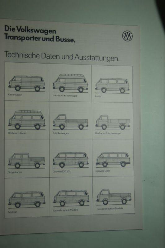 VW: Die Volkswagen Transporter und Busse Technische Daten und Ausstattungen 07/1987