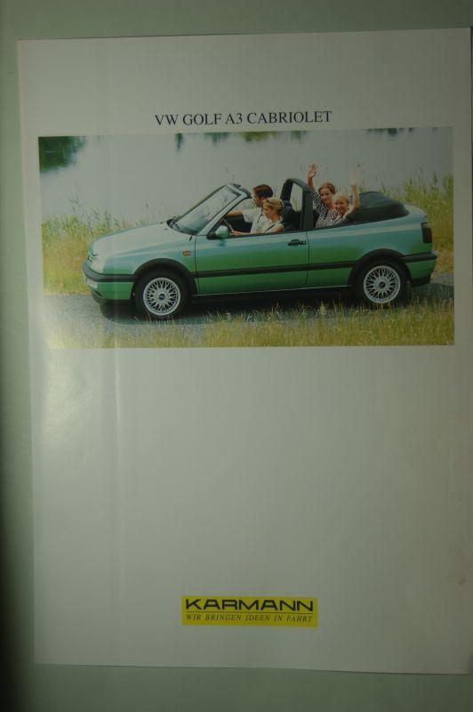 VW: Infoblatt VW Golf A3 Carbiolet Karmann aus den 1990igern