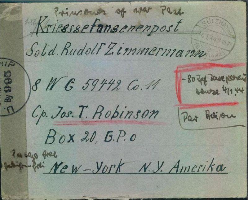 1944: Luftpostbrief in die USA mit handschriftlicher Luftpost-Taxe