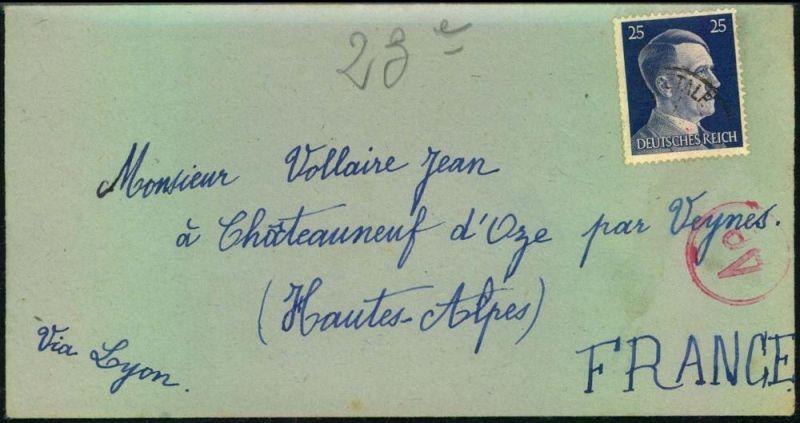 1943: Zwangsarbeiterbrief aus dem Wohlager St. Marein im Mürztale mit Inhalt nach Frankreich.