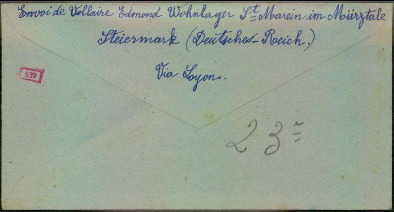 1943: Zwangsarbeiterbrief aus dem Wohlager St. Marein im Mürztale mit Inhalt nach Frankreich. 1