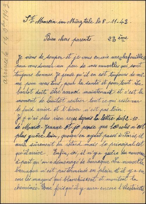 1943: Zwangsarbeiterbrief aus dem Wohlager St. Marein im Mürztale mit Inhalt nach Frankreich. 2
