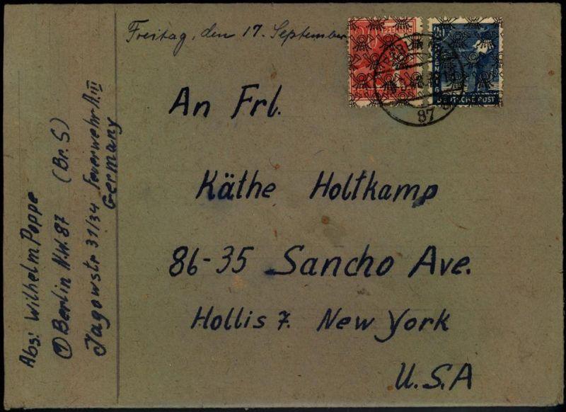 Brief mit Inhalt ab BERLIN NW 87g 10.8.48 mit 20 und 30 Pfg. Arbeiter Netzaufdruck nach USA.