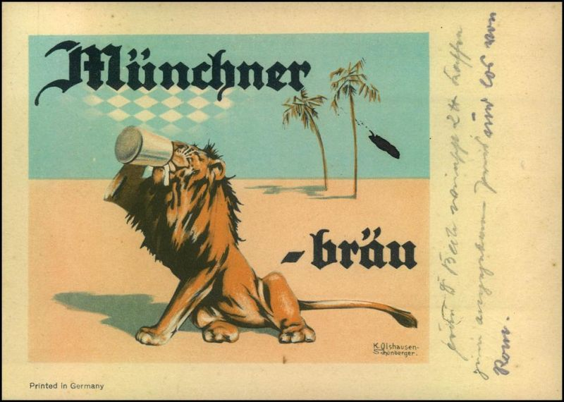 BIER: Seltene Reklamekarte Münchener Löwenbräu, gelaufen ab Aachen 1936.
