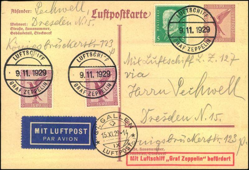 1929, LZ 127 Fahrt ins Bodenseegebiet. Auffrankierte Karte mit Bordpostsempel vom 9.11.1929, ursprünglich für die Fahrt