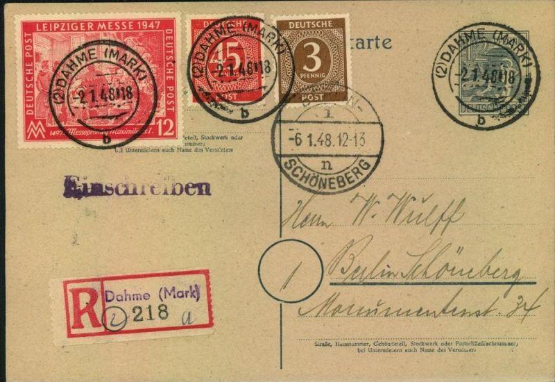 BRANDENBURG,  (2) DAHME (MARK), blanko R-Karte