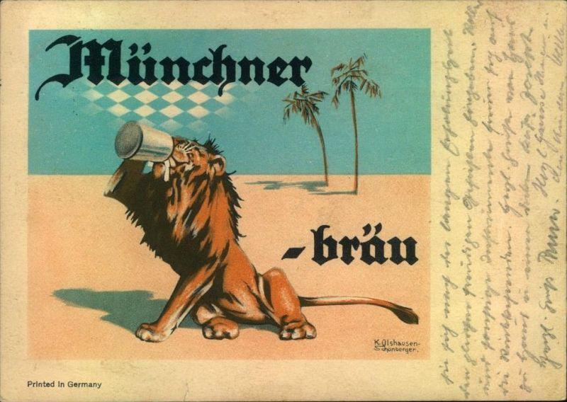 Seltene Reklamekarte Münchener Löwenbräu, gelaufen ab Aachen 1936.