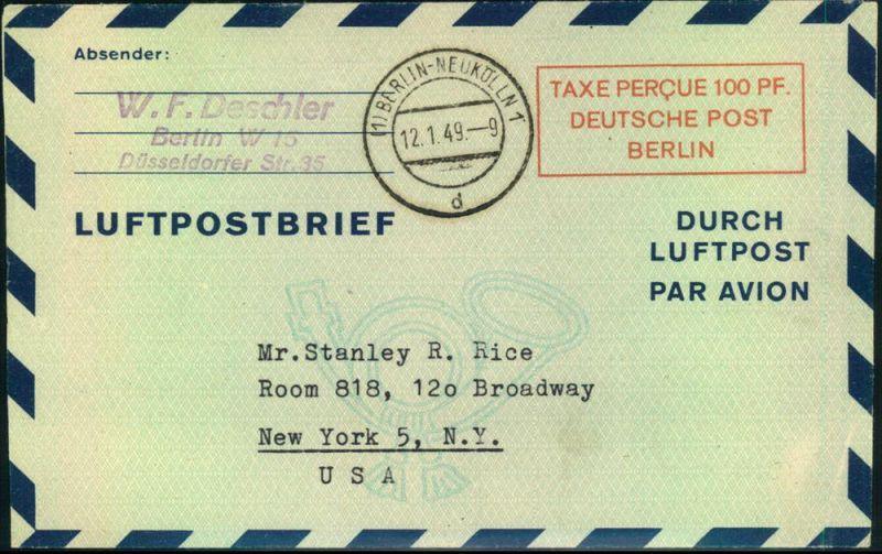 1949: 100 Pfg. Luftpostleichtbrief adressiert nach USA, gestempelt (1) BELRIN-NEUKÖLLN 1. Ohne Inhalt.