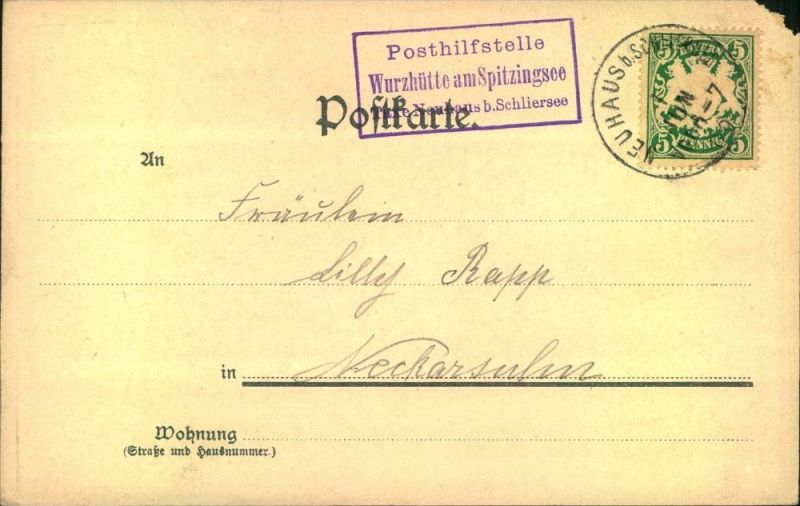 Posthilfsstellenstempel  Wurzhütte am Spitzingsee ; NEUHAUS b. SCHLIERSEE  1909