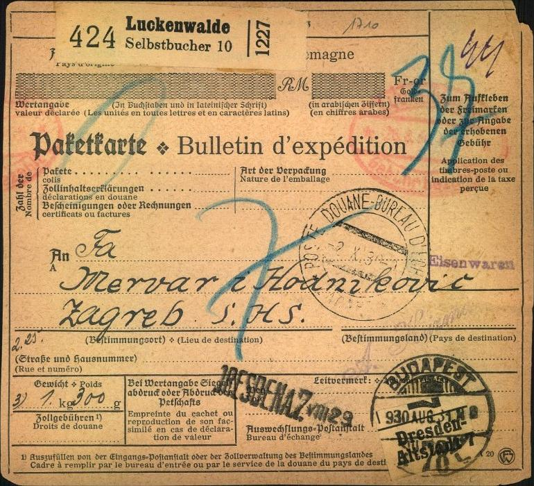 1930, BRANDENBURG, LUCKENWALDE, Selbstbucher Paketkarte