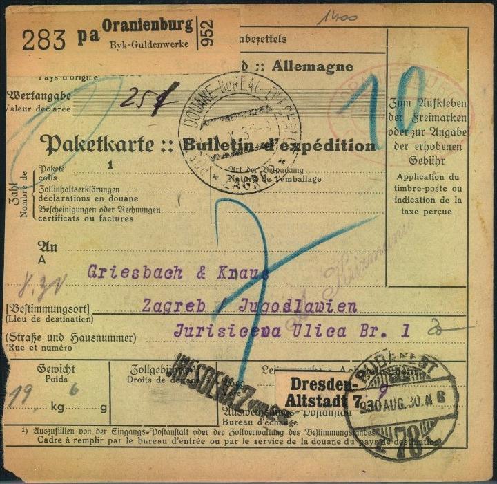 1930, BRANDENBURG, ORANIENBURG, Selbstbucher Paketkarte