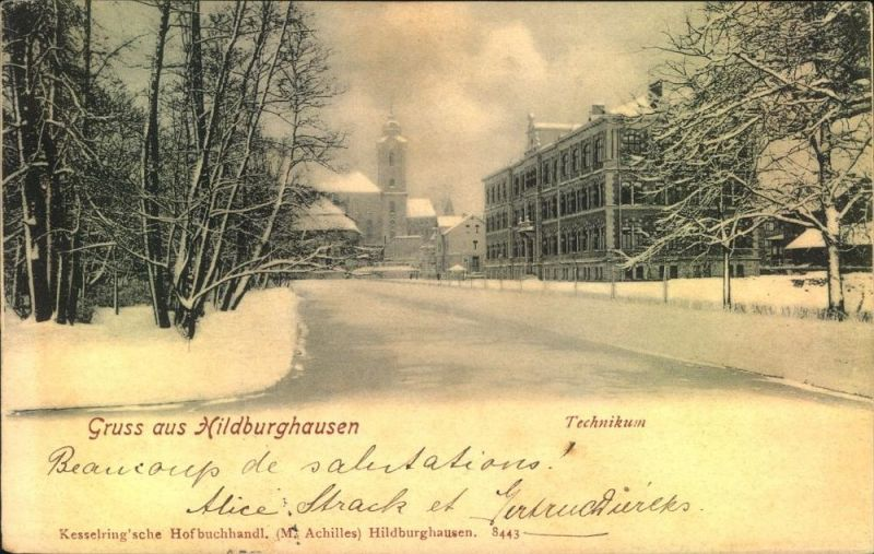 Hildburghausen Gruss aus ..., 1906, Technikum, Kesselring'sche Hofbuchhandl. (M. Achilles)  S443, Winterlandschaft