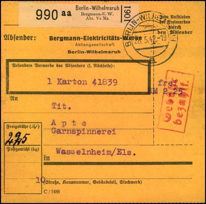 1942, Selbstbucher-Paketkarte BERLIN-WILHELMSRUH Bergmann Elektricitäts-Werke,