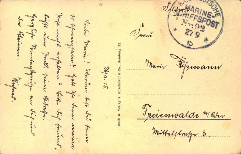 1915, Feldpostkarte