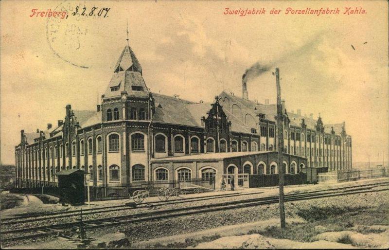 freiberg 1907 zweigfabrik der porzellanfabrik kahla mit anschlu zur bahn bahnpoststempel nr. Black Bedroom Furniture Sets. Home Design Ideas