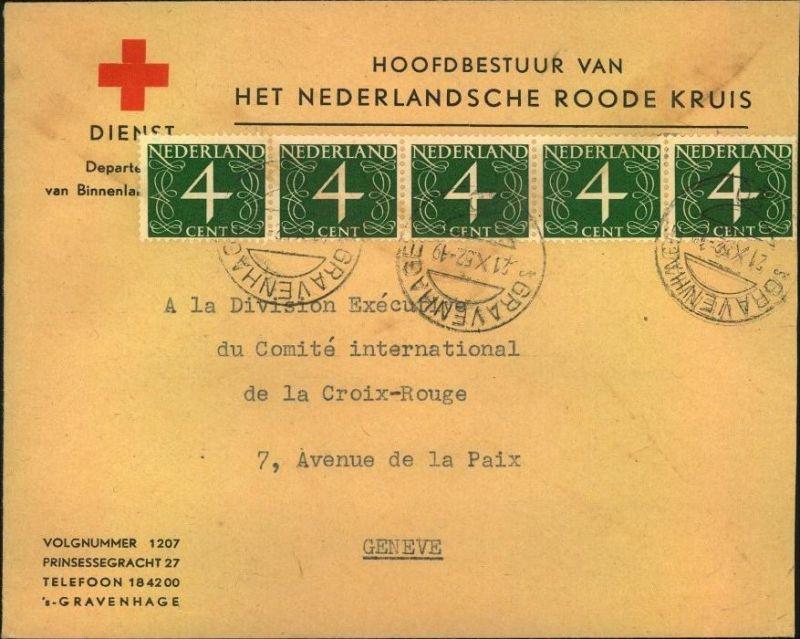 1952, NEDERLANDSCHE ROODE KRUIS, S´Gravenhage nach Genf