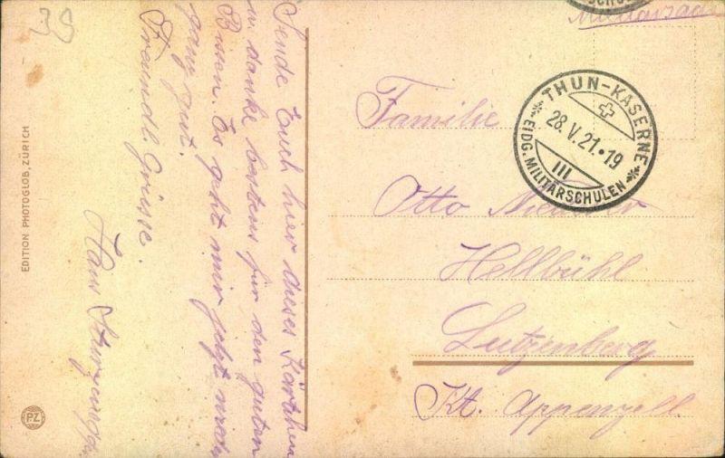 1921, Militärpost Ansichtskarte THUN-KASERNE EIDG. MILITÄRSCHULEN