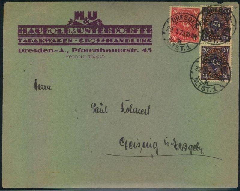 1923, toller Firmen-Werbebrief,  Reklame, Tabak, Haubold & Unterdörfer, Dresden, Öffnungsmängel