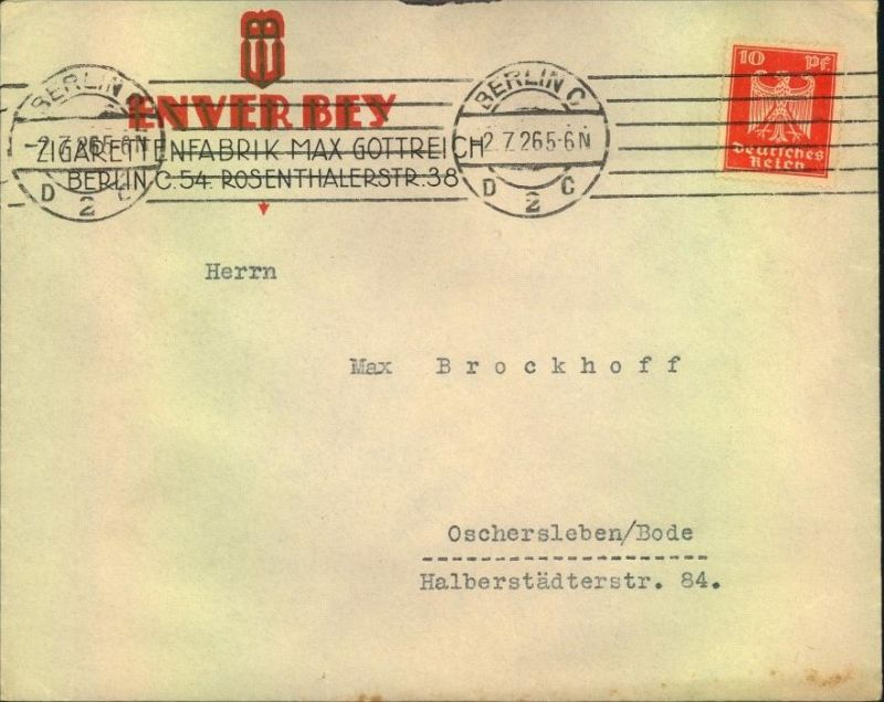 1926, toller Firmen-Werbebrief,  Reklame, Tabak, ENVERBEY Zigarettenfabrik Max Gottreich